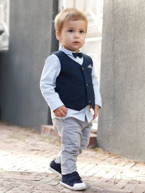 Vertbaudet Collection-Baby-Occasion Wear Outfit : Waistcoat + Shirt + Bow Tie + Trousers, for Boys