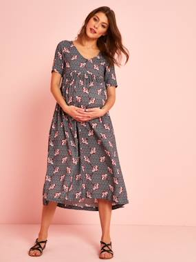 Maternity-Dresses-Long Maternity Dress in Printed Viscose