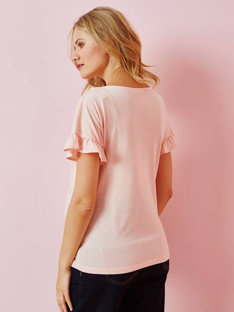 Maternity T-Shirt with Ruffles on the Sleeves BLUE MEDIUM SOLID+PINK LIGHT SOLID - vertbaudet enfant