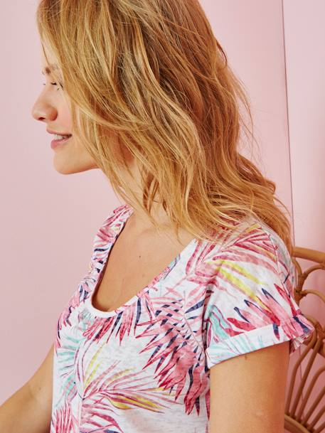 Maternity T-Shirt with Iridescent Print GREEN MEDIUM ALL OVER PRINTED+PINK LIGHT ALL OVER PRINTED - vertbaudet enfant