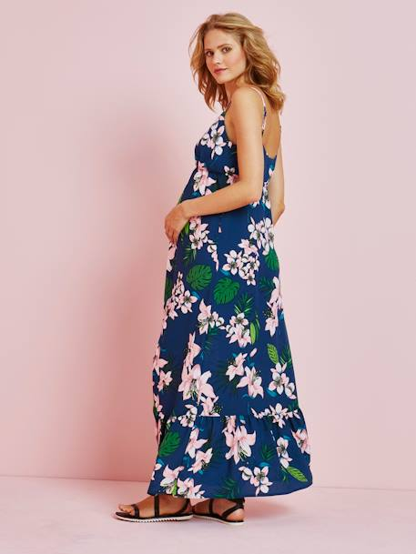 Long Maternity Dress, Tropical Print GREEN MEDIUM ALL OVER PRINTED - vertbaudet enfant
