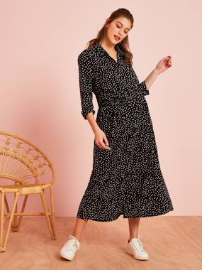 Maternity-Dresses-Long Maternity Shirt Dress