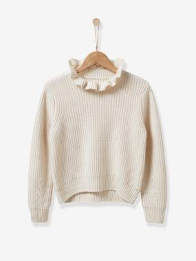 Girls-Cardigans, Jumpers & Sweatshirts-Jumpers-Girl's sweater with frill