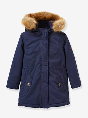 Girls-Coats & Jackets-Girl's parka with faux-fur lining