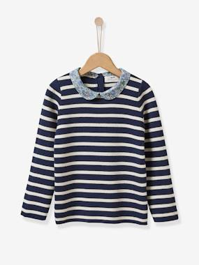 Vertbaudet Collection-Girls-Cardigans, Jumpers & Sweatshirts-Girl's sweater with Liberty floral collar