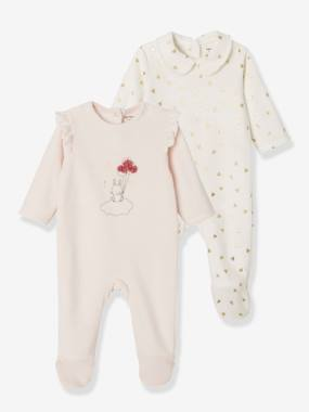 Baby-Pack of 2 Velour Sleepsuits, for Babies