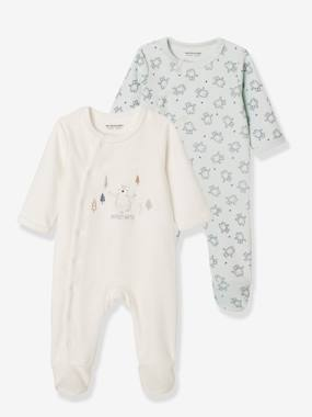 pyjama-Baby-Set of 2 Front Opening Velour Sleepsuits, for Newborns