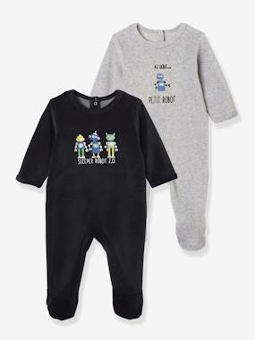 pyjama-Baby-Pack of 2 Fleece Sleepsuits for Babies, Back Opening