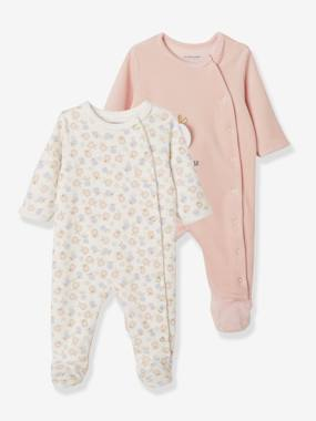 Vertbaudet Collection-Baby-Pack of 2 Velour Sleepsuits, for Babies