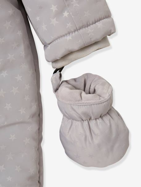 Pramsuit with Plush Lining & Padding for Baby Boys BLUE DARK SOLID+GREY DARK ALL OVER PRINTED - vertbaudet enfant