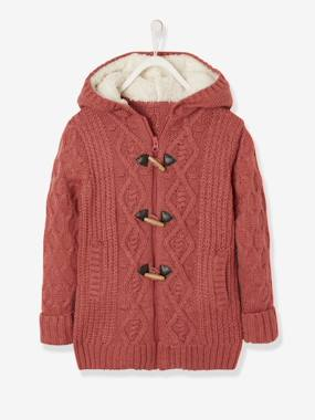 Girls-Cardigans, Jumpers & Sweatshirts-Long Cardigan with Hood & Sherpa Lining for Girls
