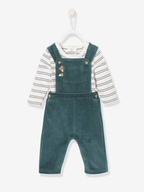 Baby-Dungarees & All-in-ones-Velour Dungarees + Top Bodysuit Ensemble for Newborn Baby