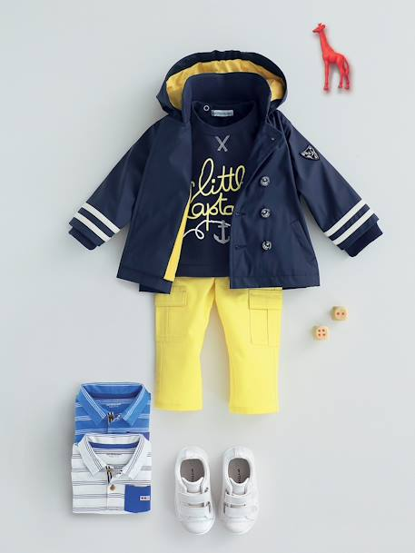 Baby Boys' Lined Raincoat with Hood Ink+Light yellow - vertbaudet enfant