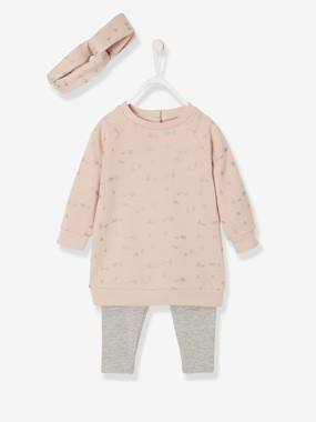 Vertbaudet Collection-Baby-Dresses & Skirts-Fleece Dress, Leggings & Hairband Ensemble, for Baby Girls