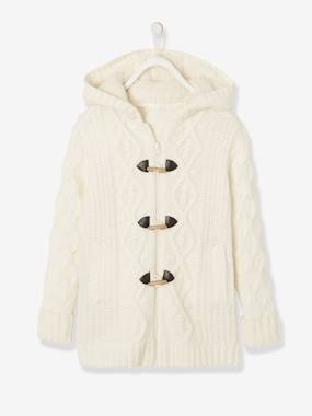 Girls-Cardigans, Jumpers & Sweatshirts-Cardigans-Long Cardigan with Hood & Sherpa Lining for Girls
