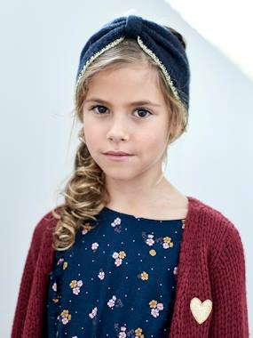 Girls-Accessories-Knitted Headband with Iridescent Trim, for Girls