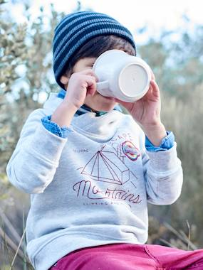 Boys-Cardigans, Jumpers & Sweatshirts-Sweatshirt with Fancy Collar & Camping Motif, for Boys