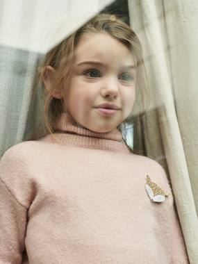 Vertbaudet Collection-Girls-Cardigans, Jumpers & Sweatshirts-Polo-Neck Jumper with Glittery Fox Badge for Girls