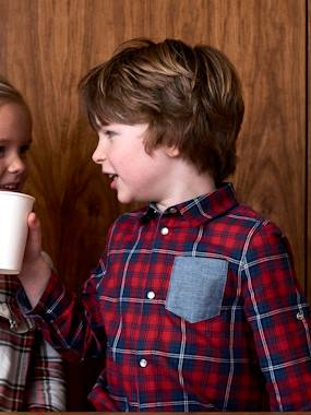Boys-Shirts-Plaid Shirt, Large Motif on the Back, for Boys