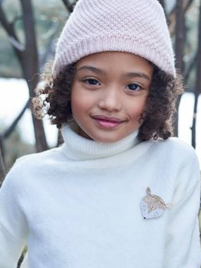 Girls-Cardigans, Jumpers & Sweatshirts-Polo-Neck Jumper with Glittery Fox Badge for Girls