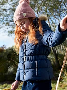 Girls-Coats & Jackets-Down Coat with Hood & Elasticated Waist for Girls
