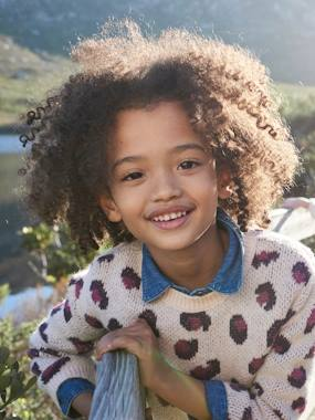 Vertbaudet Collection-Girls-Cardigans, Jumpers & Sweatshirts-Jumper with Leopard Motifs, for Girls