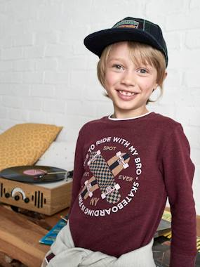 Boys-Cardigans, Jumpers & Sweatshirts-2-in-1 Effect Sweatshirt, Skateboard Motif, for Boys