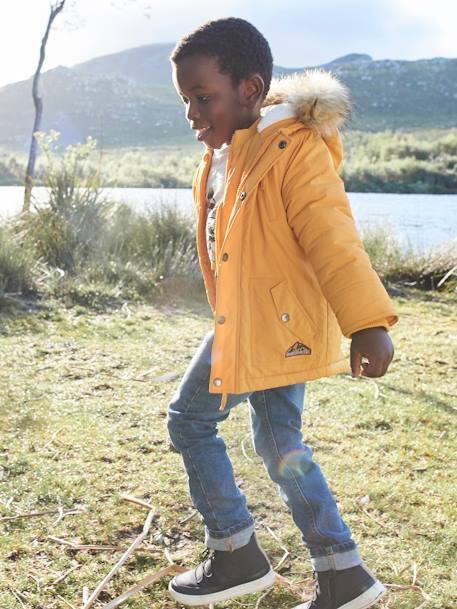 Hooded Parka for Boys YELLOW DARK SOLID WITH DESIGN - vertbaudet enfant