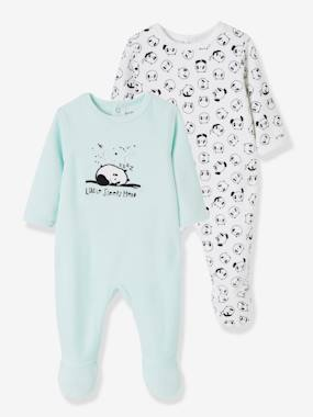 Vertbaudet Collection-Baby-Pyjamas-Pack of 2 Velour Sleepsuits for Babies, with Press-Studs on the Back