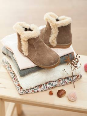 Shoes-Leather Boots with Faux Fur Collar for Baby Girls