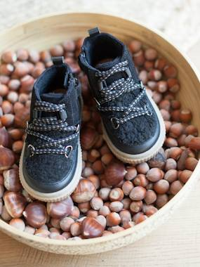 Shoes-Baby Footwear-High Top Leather Trainers for Baby Girls