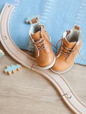 Shoes-Baby Footwear-Baby Boy Walking-Leather Boots, Lining in Faux Fur, for Baby Boys