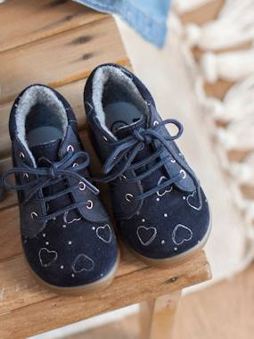 Shoes-Baby Footwear-Baby's First Steps-Furry Leather Ankle Boots for Baby Girls, Designed for First Steps