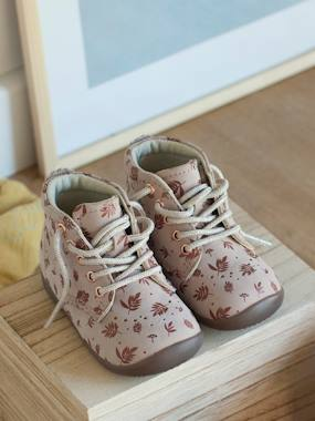 Shoes-Baby Footwear-Baby's First Steps-Leather Ankle Boots for Baby Girls, Designed for First Steps