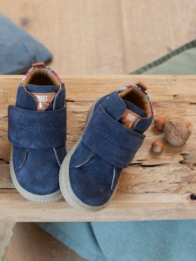 Shoes-Baby Footwear-Leather Trainers with Touch-Fastening Tab, for Boys