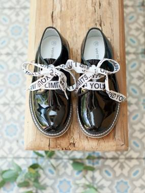 Shoes-Girls Footwear-Ballerinas & Mary Jane Shoes-Leather Derby Shoes with Message on Laces for Girls