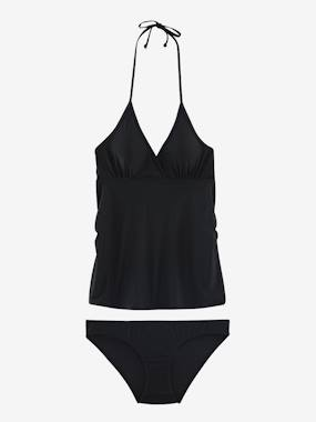 Maternity-Swimwear-Maternity Two-Piece Tankini with Graphic Motifs