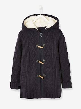 Vertbaudet Collection-Girls-Cardigans, Jumpers & Sweatshirts-Long Cardigan with Hood & Sherpa Lining for Girls