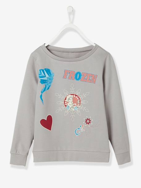 Girls' Sweatshirt with Frozen® Patches GREY LIGHT SOLID WITH DESIGN - vertbaudet enfant