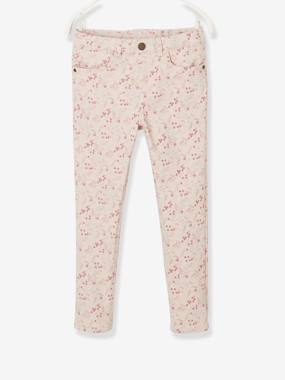 Vertbaudet Collection-Girls-Trousers-Slim Leg Trousers with Flower Print, for Girls
