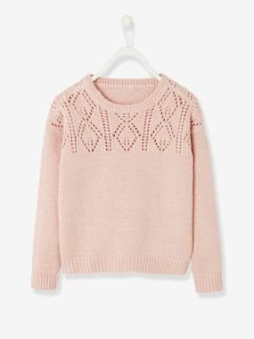 Vertbaudet Collection-Girls-Cardigans, Jumpers & Sweatshirts-Openwork Jumper in Shimmery Yarn, for Girls
