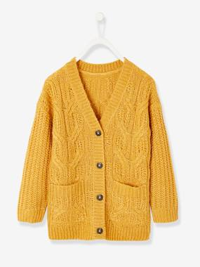 Girls-Cardigans, Jumpers & Sweatshirts-Cardigans-Long Cable Knit Cardigan, for Girls