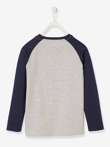 Long-Sleeved Top with Skiing Motif & Raglan Sleeves, for Boys GREY LIGHT MIXED COLOR - vertbaudet enfant