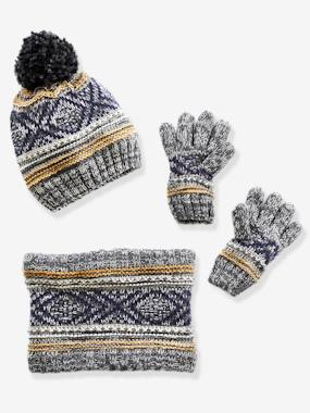 Boys-Accessories-Winter Hats, Scarves & Gloves-Beanie with Pompom + Snood + Gloves, for Boys