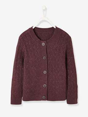 Girls-Cardigans, Jumpers & Sweatshirts-Cardigans-Fancy Knit Cardigan, in Shimmery Yarn, for Girls