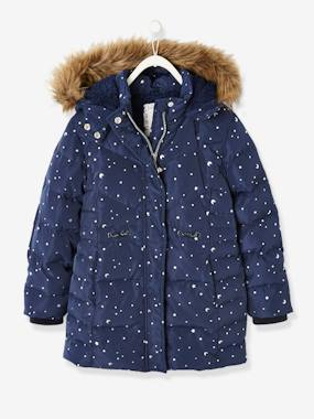 Vertbaudet Collection-Girls-Long Jacket for Girls, Stars