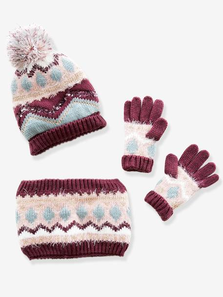 Beanie + Snood + Gloves Set in Jacquard Knit with Iridescent Details, for Girls RED DARK SOLID - vertbaudet enfant