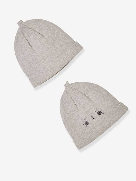 Pack of 2 Newborn Baby Beanies, Organic Cotton GREY LIGHT MIXED COLOR+WHITE LIGHT TWO COLOR/MULTICOL - vertbaudet enfant