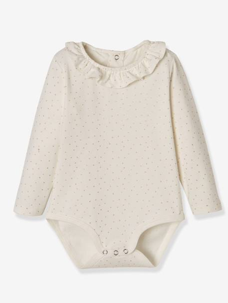 Pack of 2 Bodysuits for Babies, Peter Pan Collar, Long Sleeves PINK DARK ALL OVER PRINTED+WHITE LIGHT ALL OVER PRINTED - vertbaudet enfant