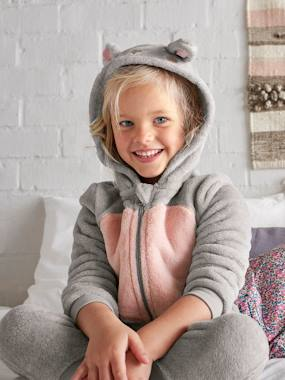 Girls-Nightwear-Plush Rabbit Jumpsuit for Girls